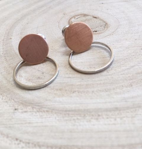 ANOUK HOOP ROSE GOLD AND SILVER  STUD EARRING